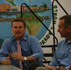State Sen. David Givens, R-Greensburg, watches as Commissioner James Comer speaks at Green County High School.(Greensburg Record-Herald)