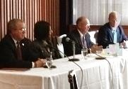 L-R: Dr. Doug Whitlock, Dr. Lesley Di Mare, Mayor Jim Barnes, Pete Haga