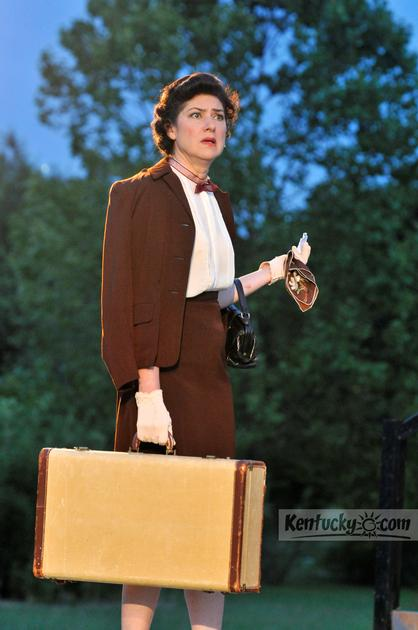 """Blanche (Bess Morgan) arrives in New Orleans. SummerFest presents Tennessee Williams' """"A Streetcar Named Desire,"""" directed by Joe Ferrell, July 18-22 at The Arboretum, 500 Alumni Drive in Lexington."""
