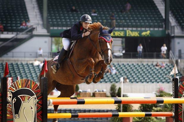 Charlotte Gadbois cleared a fence during the Adequan FEI North American Junior and Young Rider Championships at Kentucky Horse Park on Saturday.