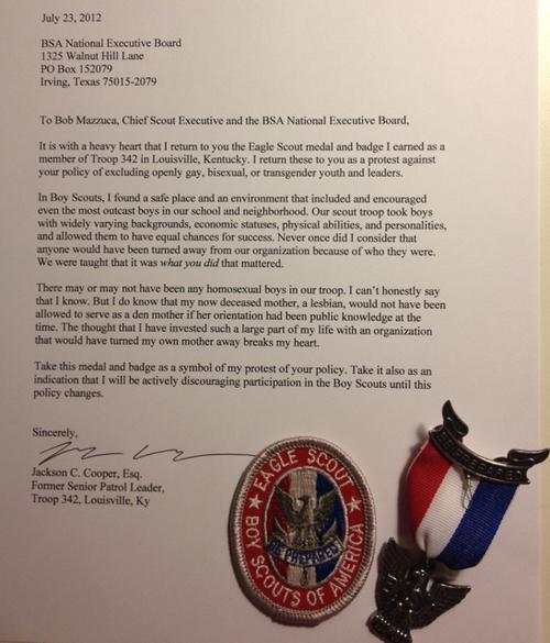 Cooper's letter to BSA leadership.