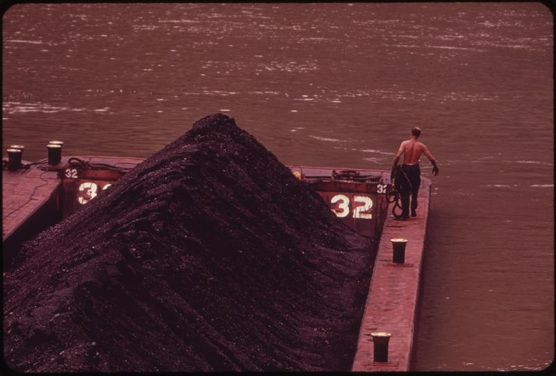 Coal on a barge in the Kanawha River in 1973.