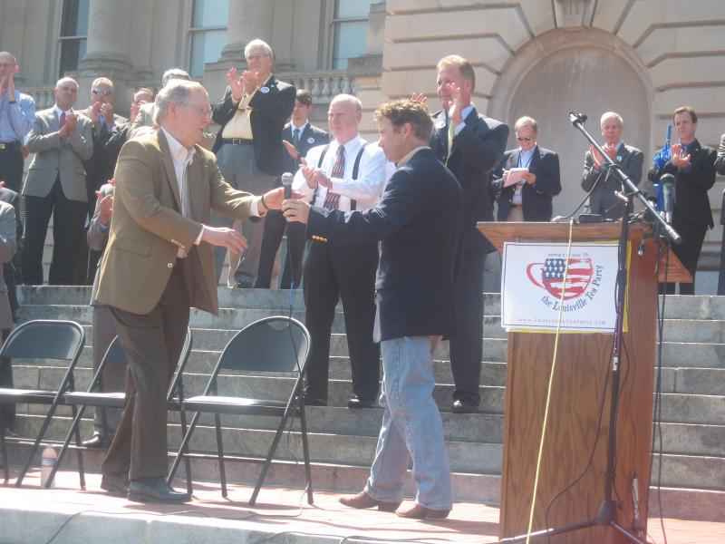 Senators Mitch McConnell and Rand Paul at Tuesday's Tea Party Rally in Frankfort.