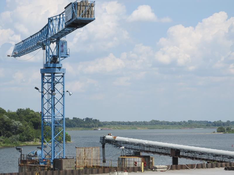 Captain Ehlman's ship docks at Paducah's riverfront to change crews.