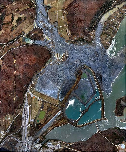 An aerial view of the coal ash spill on December 23, 2008.