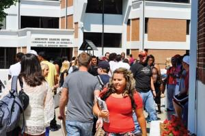 Students make their way to their classes for their first day of the fall semester at the University of Pikeville on Monday. According to Gary Justice, director of admissions, there are 1,246 full-time students enrolled this semester.