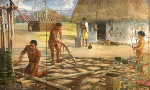 Artist's Depiction of Mississippian Village at Wickliffe.