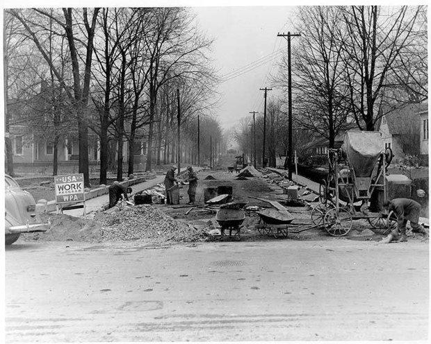 WPA road projects such as the work on Maple Street in Marion, in Crittenden County, provided jobs during the Great Depression.