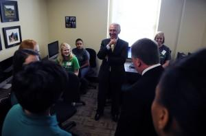Governor Steve Beshear talks with students at the Gatton Academy before Monday's reception at Western Kentucky University.