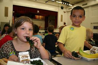 Students in Kenton County Schools sample kale chips
