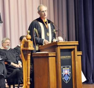 Georgetown College President William Crouch speaks during the college's graduation ceremony for graduate students earlier this year.