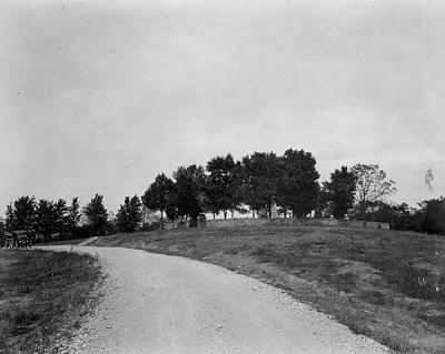 Perryville cemetery as seen in 1926 postcard.  In describing the battle, preservationist Joan House stood near this point.