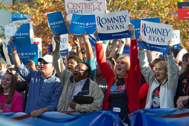 Enthusiastic supporters of both President Obama and Mitt Romney gave spirited cheers outside the MSNBC broadcast area.