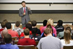 U.S. Sen. Rand Paul speaks to an audience in the auditorium at Western Kentucky University's Grise Hall, Monday, Oct. 15, 2012, in Bowling Green.