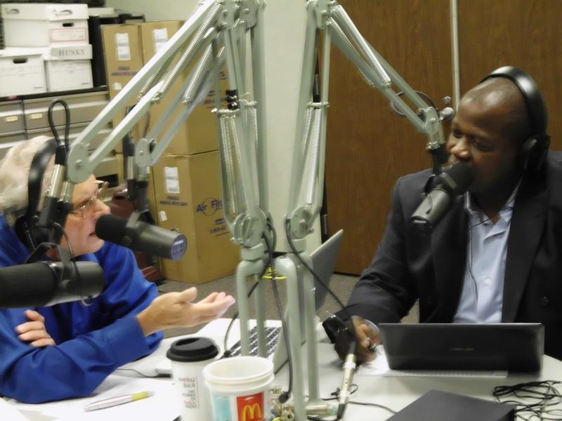 "John Hingsbergen with Dr. Everett McCorvey in WEKU's Studio ""A"""