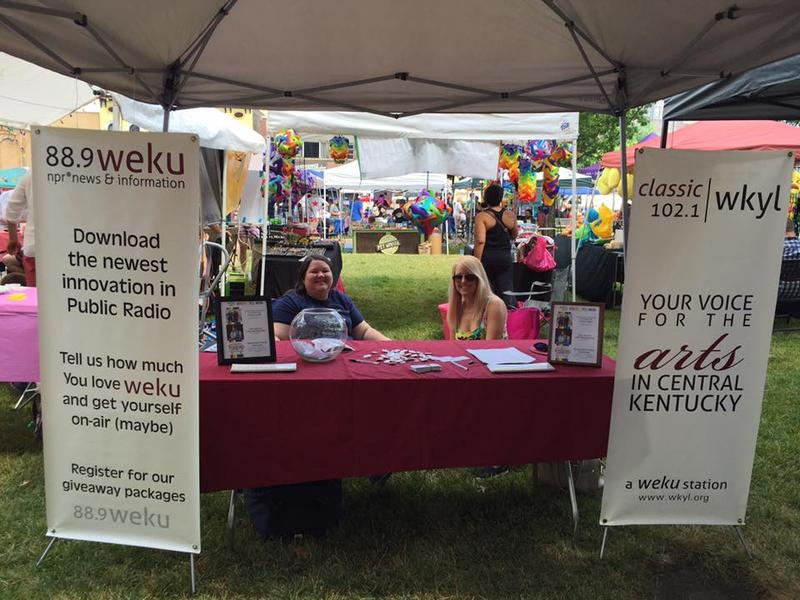 WEKU's Julie Tennill and Marisa Hempel staffing the WEKU table at Lexington Pride 2016