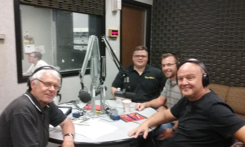 From left: Host John Hingsbergen, Michael Hartman of FrogDice, Dr. George Landon of EKU's Gaming Institute, and Dr. Matthew Irvin: Associate Professor of Sociology at EKU around the round table for Eastern Standard.