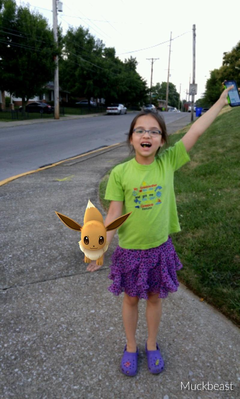 Michael and Pang Hartman, Co-founders of FrogDice made sure to get a screenshot of their daughter with a Pokemon when the family plays together.