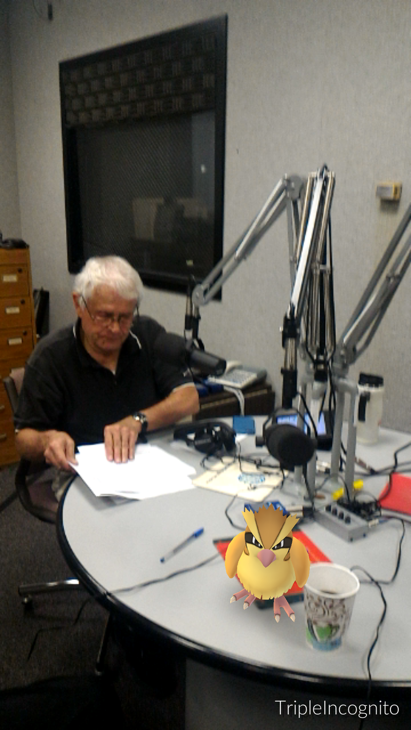 A Pidgey landed on the round table for Dr. Landon to catch before the show.