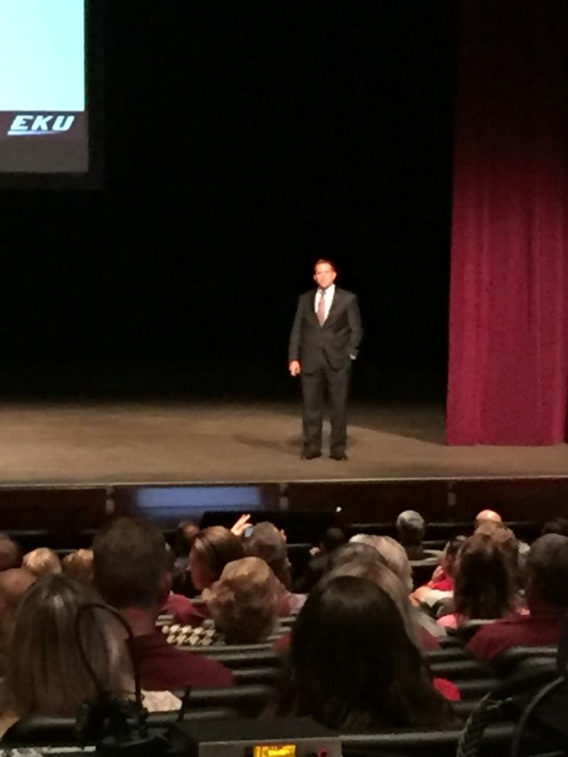 EKU President Michael Benson delivers his 2016 Convocation Address at the EKU Center for the Arts