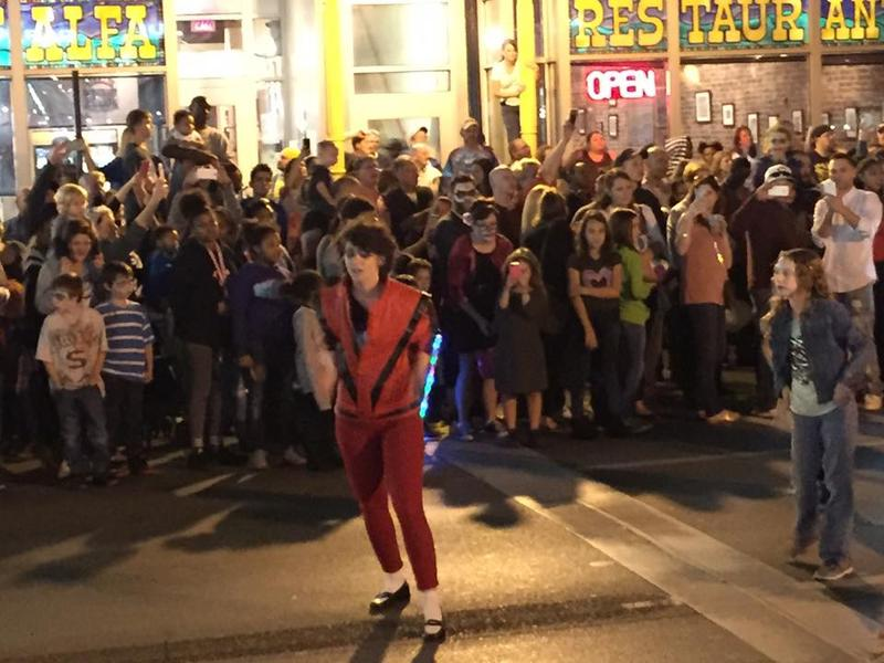 "Michael Jackson impersonators led the way with ""zombies"" in tow"
