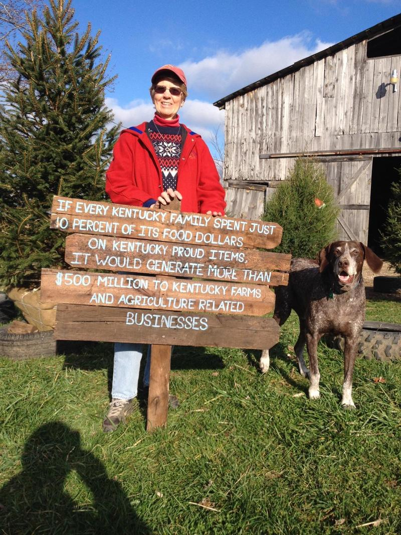 Margery Baldwin stands at her beautiful farmstead that offers pumpkins and christmas trees for the holidays: Baldwin Farms in Richmond, Kentucky