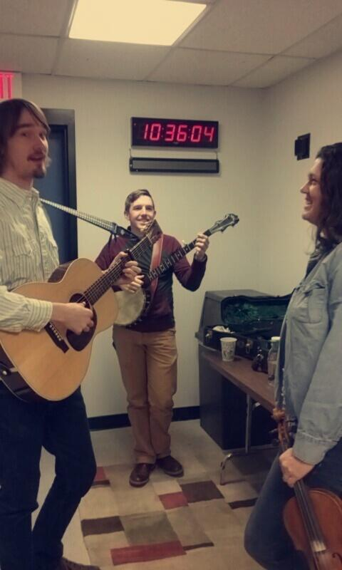 Sam, Tyler, and Deborah warming up (in the hallway!) before going live.