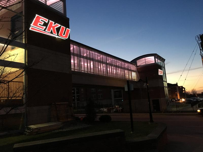 The rebuilt EKU pedway across Lancaster Ave in Richmond