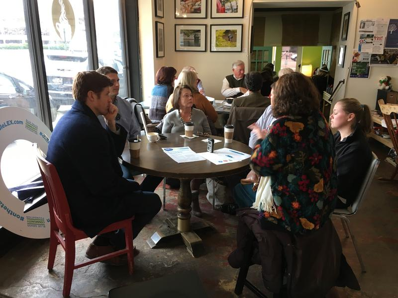 "Dozens gathered for a ""pop-up"" discussion at A Cup of Common Wealth coffeeshop downtown"
