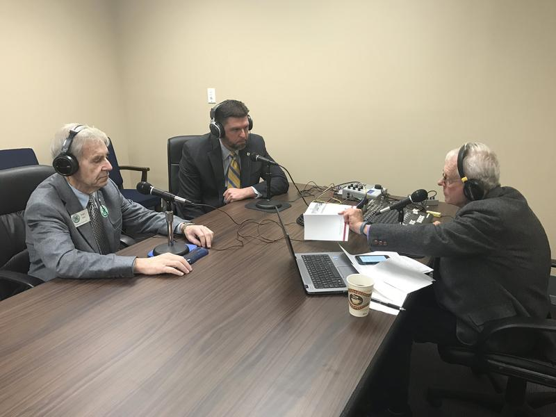 The Eastern Standard mobile studio had representatives and senators filing in and out to speak with John Hingsbergen live from Frankfort. Pictured here: Senator Jared Carpenter and Representative Kenny Imes.