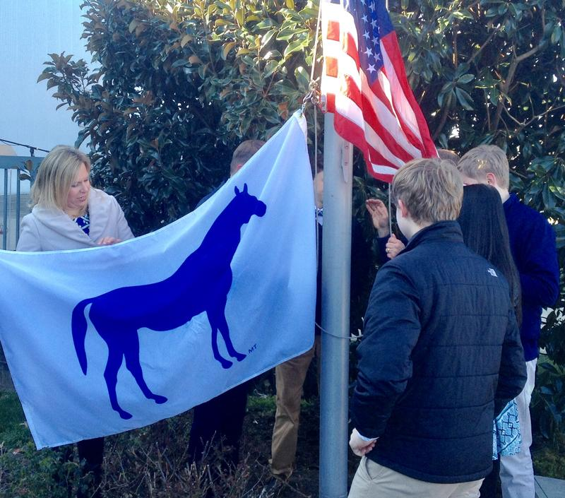 Lexington Mayor Jim Gray joined students and faculty at Lexington Christian Academy for the raising of the City 'Spirit Flag'