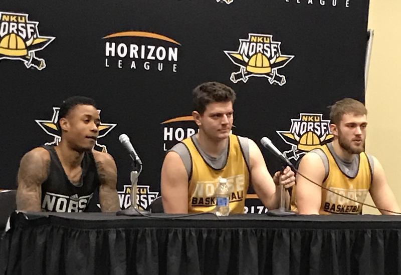 LaVone Holland ll, Drew McDonald,Carson Williams talk with media