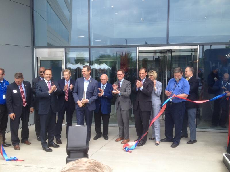 Gov. Matt Bevin, Lexington Mayor Jim Gray and other government and business leaders joined Valvoline executives for the ribbon-cutting for Valvoline's new world headquarters