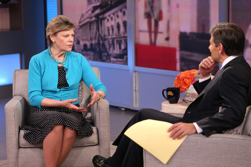 Cokie Roberts talks about her book Capital Dames on ABC's Good Morning America with George Stephanopoulos last April. Roberts left her position as a full-time staffer at NPR in 1992 but has regularly appeared on the air as a commentator