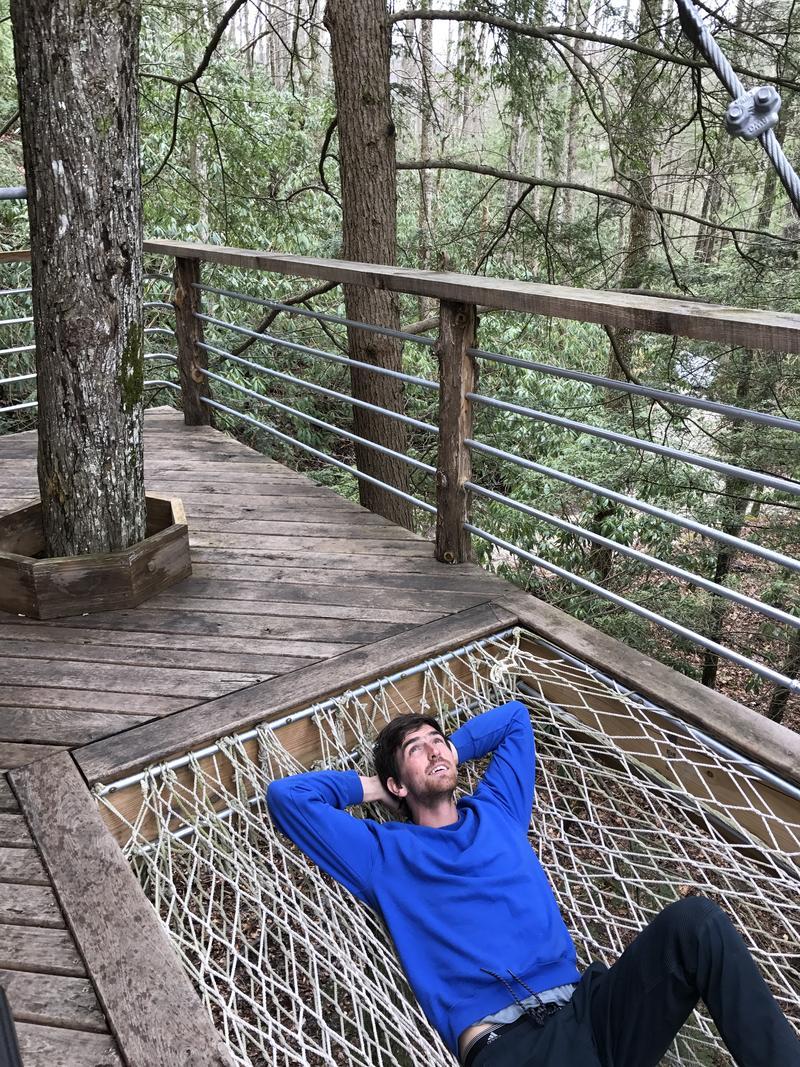 Django resting in the built in hammock at the Sylvan Float