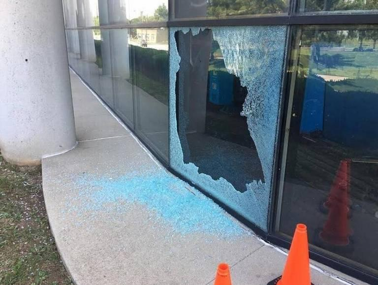 A shattered window on the first level of the Lexington Herald-Leader building on Midland Avenue.