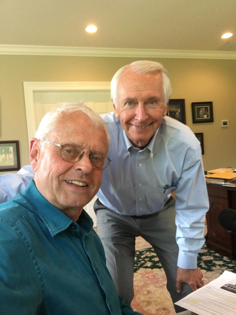 "Former Kentucky Gov. Steve Beshear in a ""selfie"" with WEKU's John Hingsbergen"