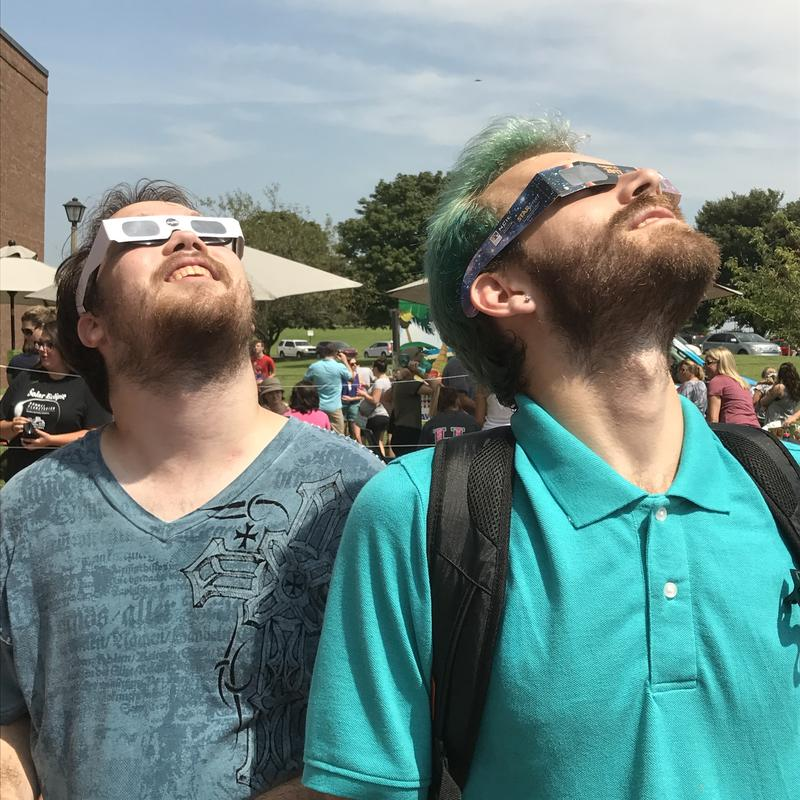 Mark and Cody Truesdell scored a pair of eclipse glasses at the last minute.