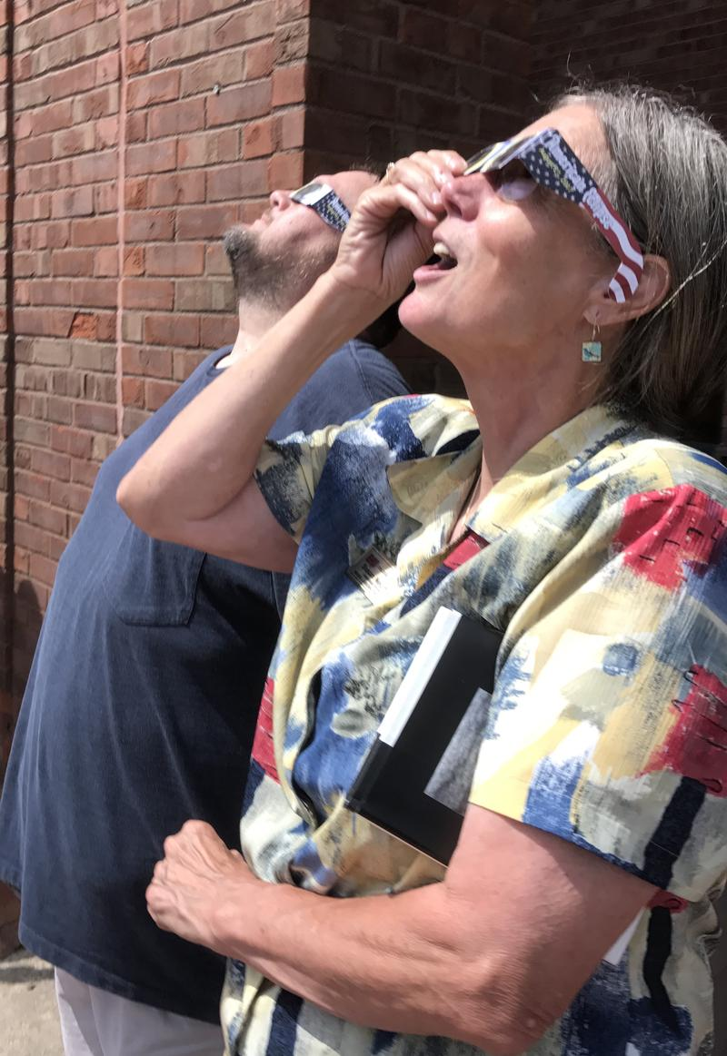 Science teacher Susan Neumann in awe of the solar eclipse