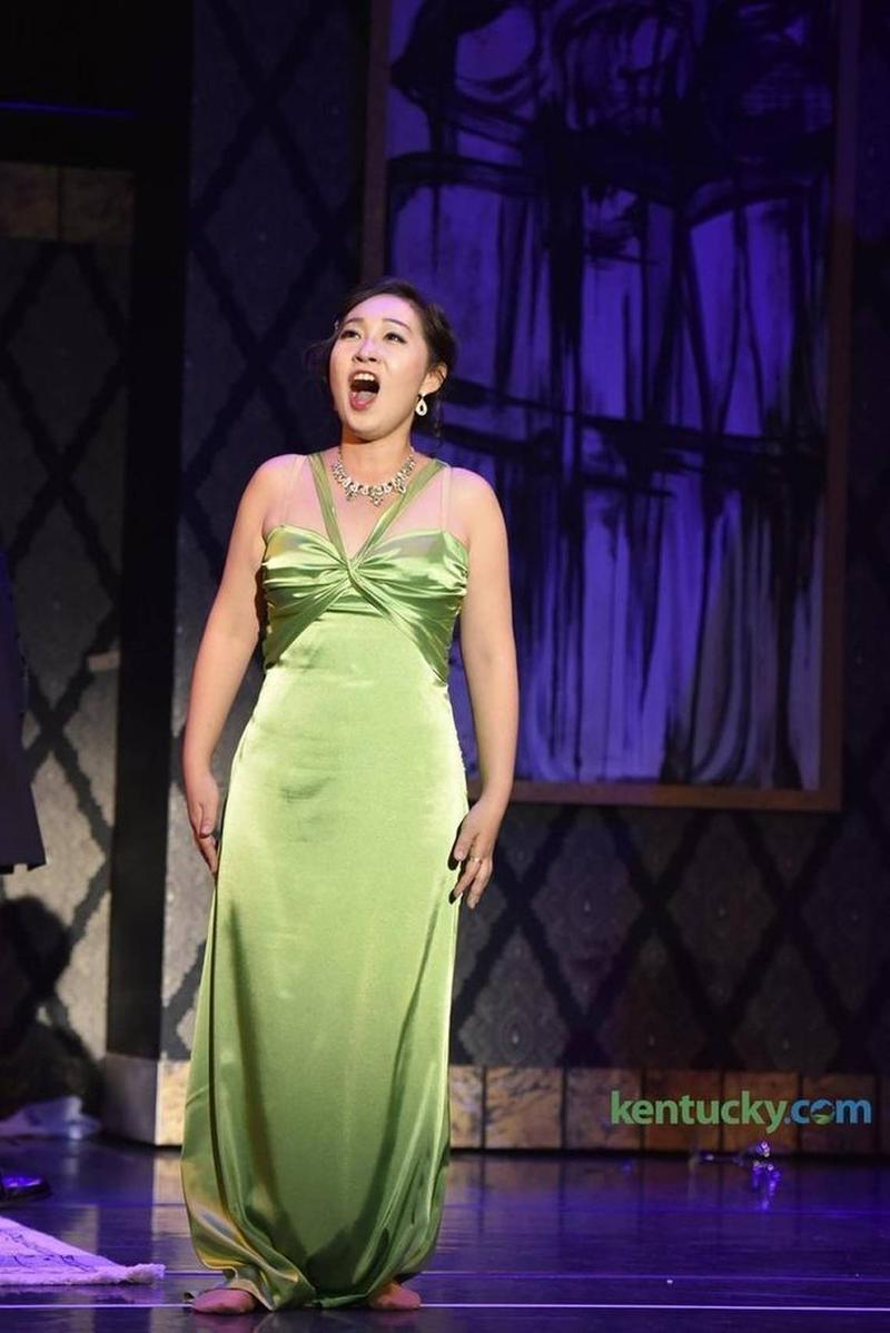 "Junghyun Lee, as Violetta, sang the signature aria in ""La Traviata,"" ""Sempre Libera."" Lee alternates in the lead role with Jessica Bayne."