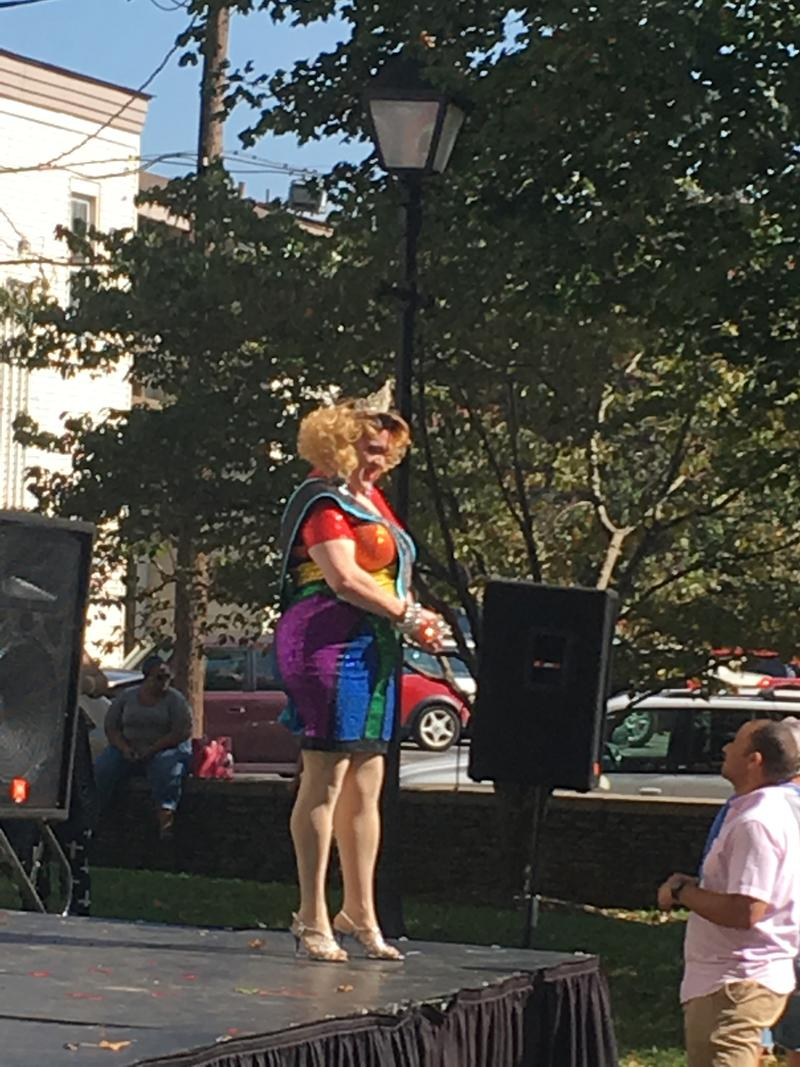 "Among the performers was drag artist ""Georgia Peach"""