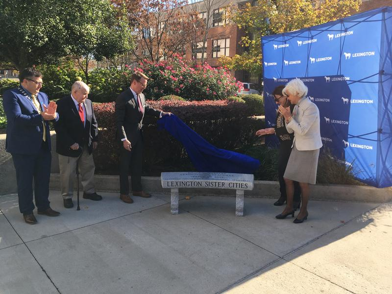 Lexington Mayor Jim Gray and French Officials Unveil Commemorative Bench