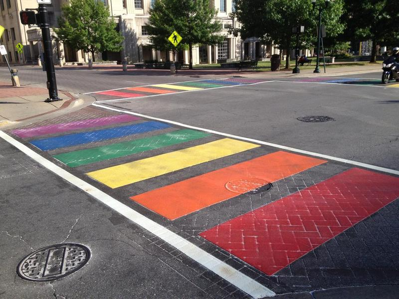 The rainbow crosswalks were installed at the intersection of Limestone and Short in downtown Lexington in June