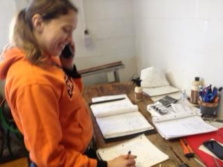Allison Tewes taking orders over the phone