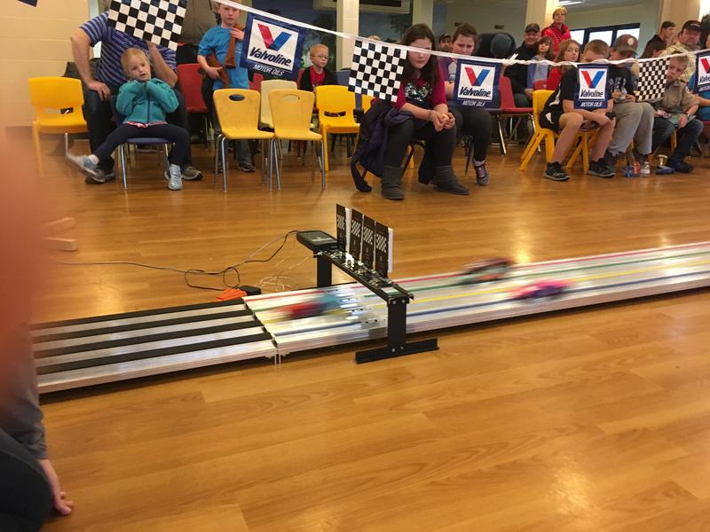 Finish Line Activity at Pinewood Derby