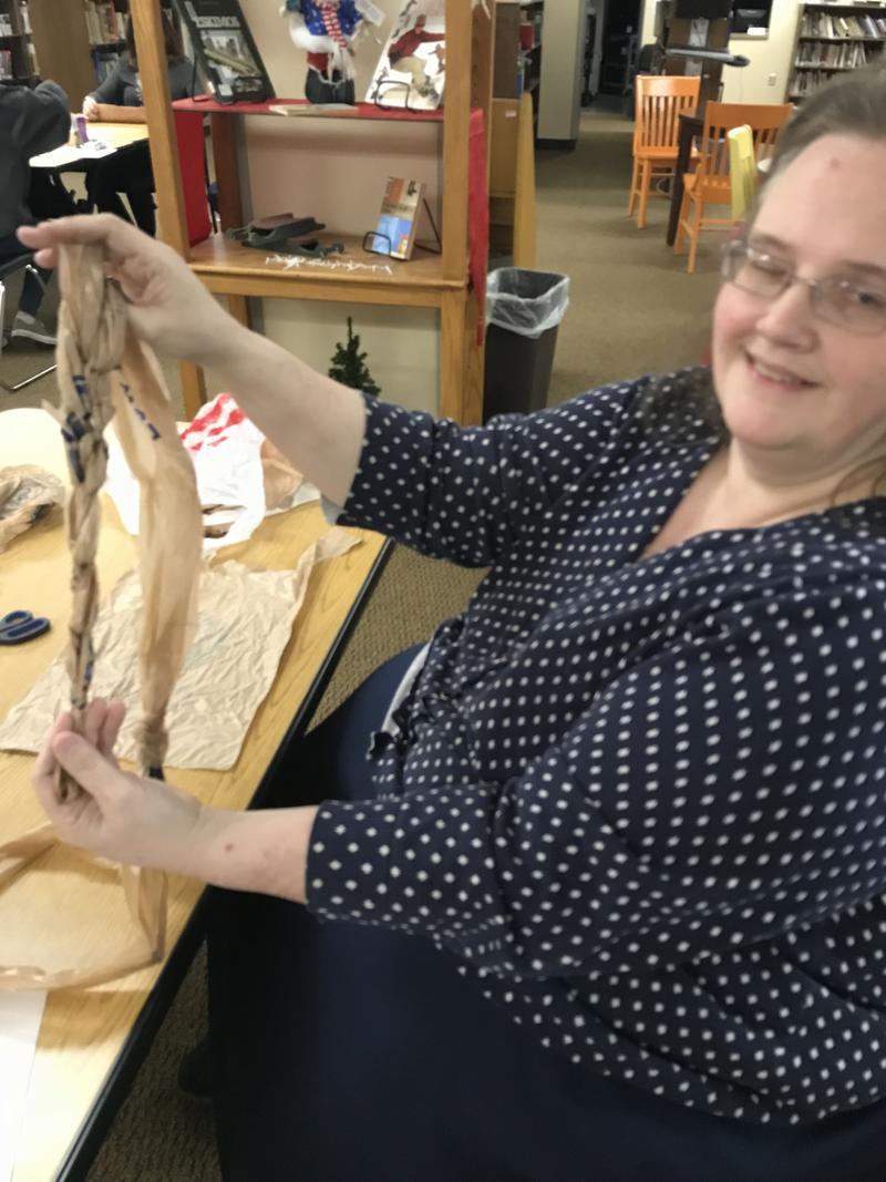 Holmes librarian Renata Kennison already has a clue about making plarn.