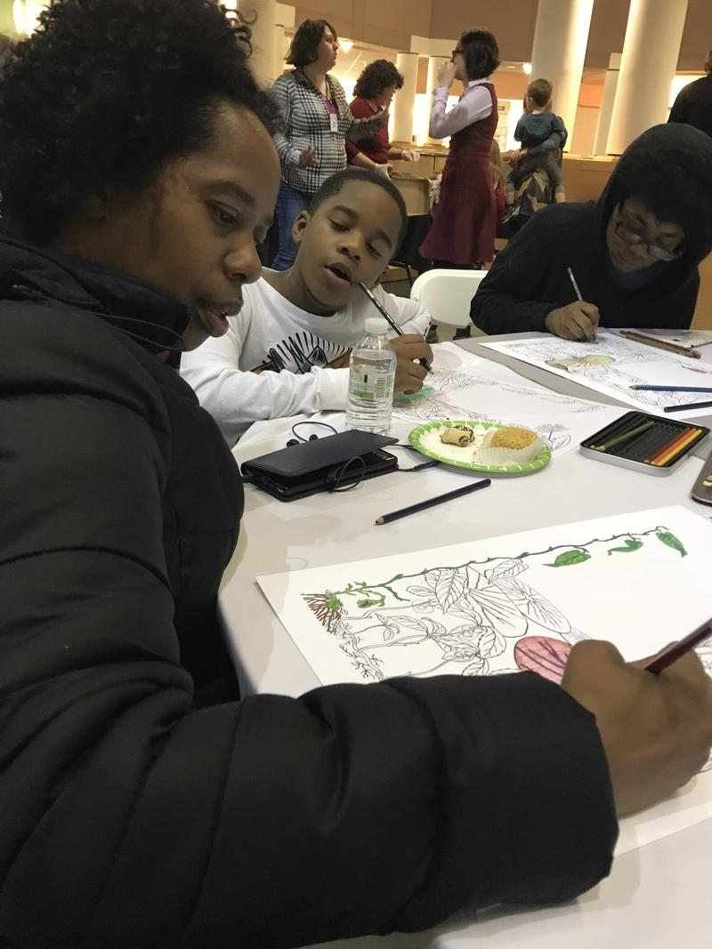 Shannon French a University of Kentucky social work student and mom brought the kids for a night of community and coloring