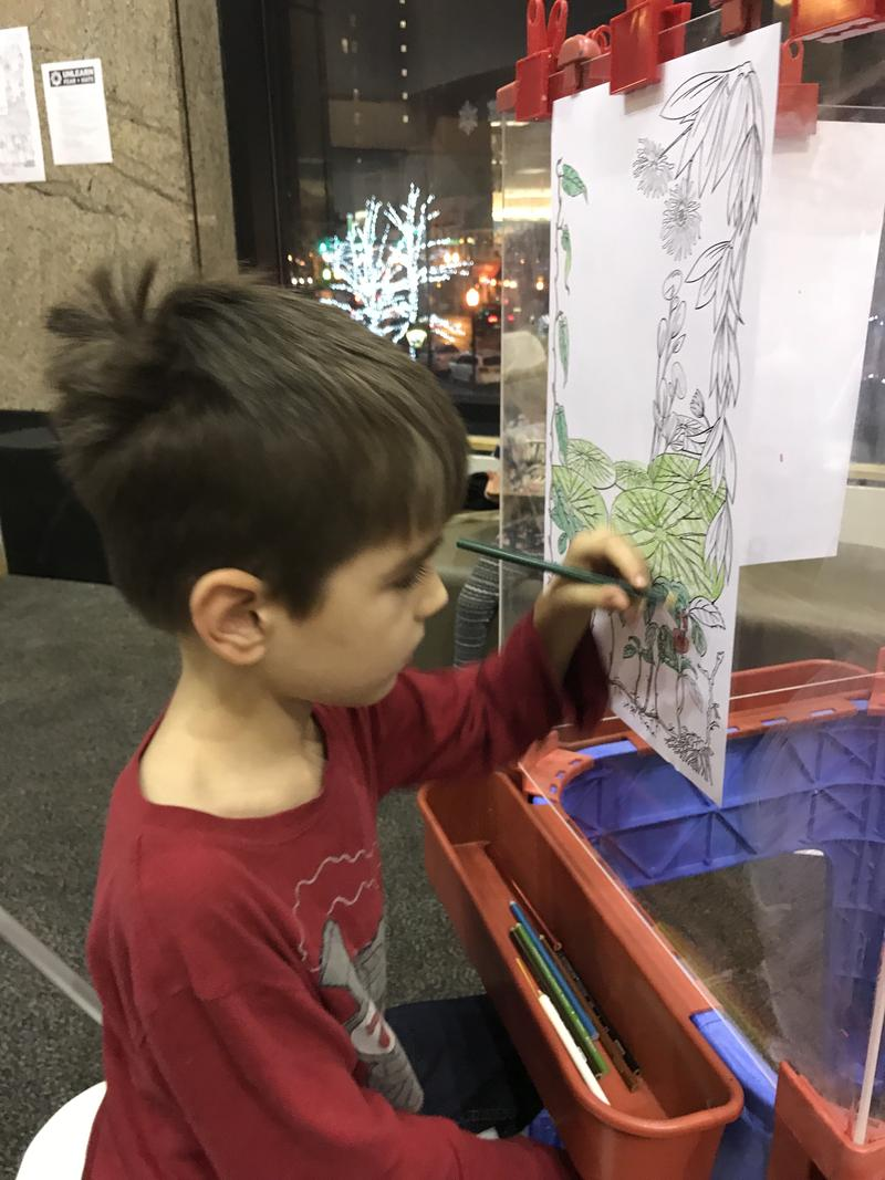 This 8 year old came with his siblings and mom. He colored with focus.