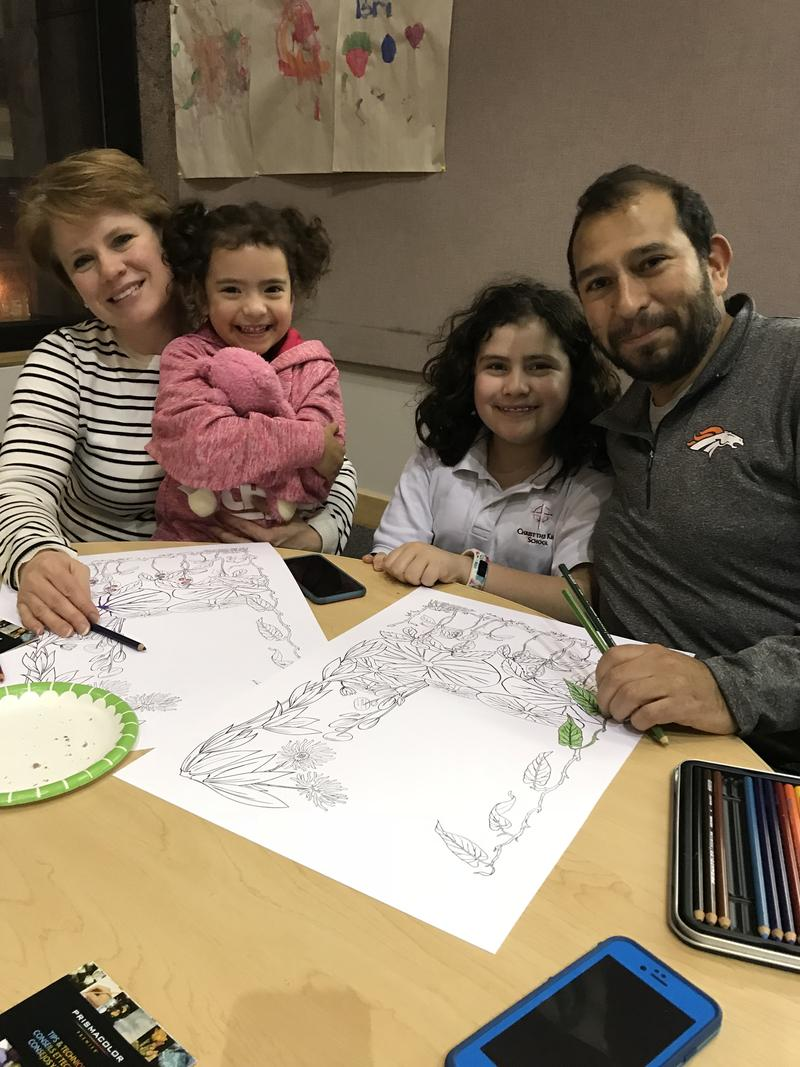The Carrillo's made the coloring party a family night