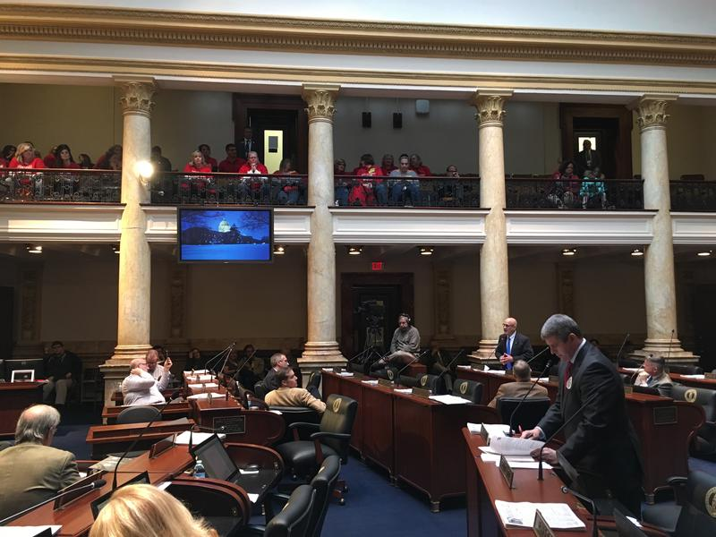 In the foreground-Pike County Senator Ray Jones-Further Back Pension Bill Sponsor Joe Bowen-Teachers in the Senate Gallery